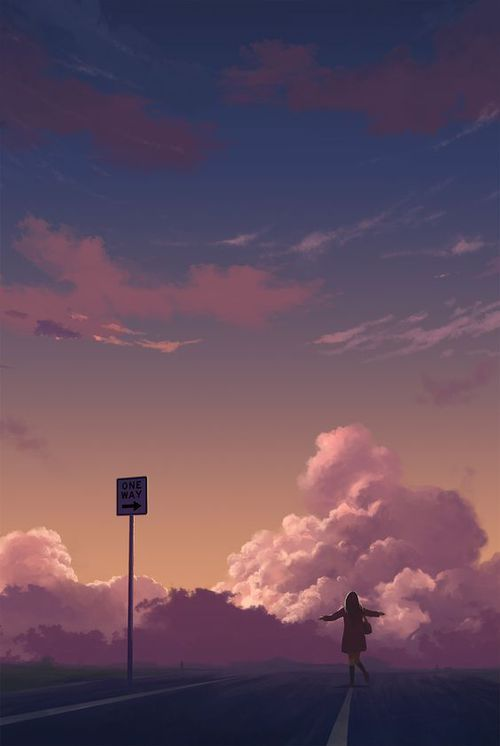 grafika anime, art, and clouds