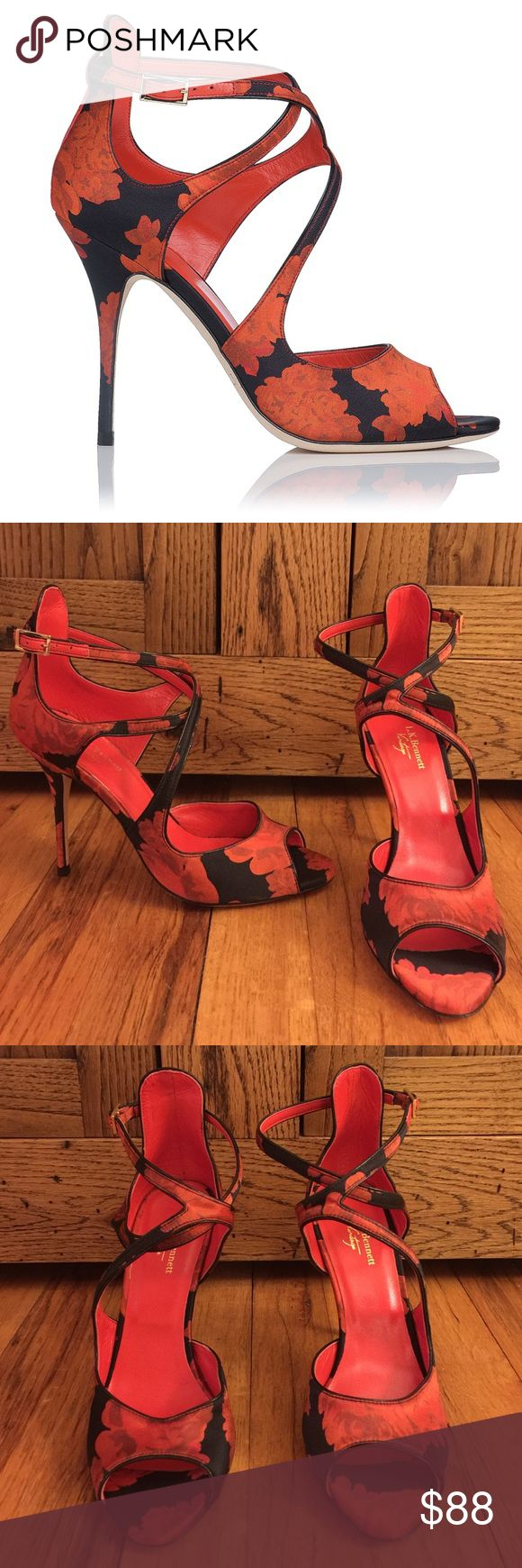 😍NWT LK Bennett Vintage Serena heels! Sz 37 Gorgeous!! L.K. Bennett Vintage Serena Pumps Red/Black Floral Satin strapy pumps Size 37 NWT  Blue arrow on bottoms see photos Here's the scoop ....Asymmetrical straps lend a delicate touch to floral satin peep-toe sandals. Buckled ankle strap. Leather lining and sole.Made in Italy.  MEASUREMENTS Heel: 3.5in / 90mm Founded in London in 1990 by Linda Bennett, L.K. Bennett has established itself as a leading British fashion brand. LK Bennett Shoes…