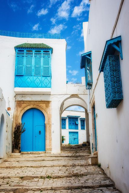 Sidi Bou Said, Tunisia. I have the exact same photo, but with me and my bf at the time in front of it.