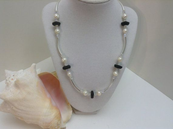 Black Sea Glass with Freshwater Pearls and Crystal by kathyv552, $28.00