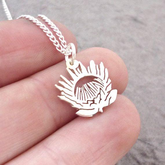 Sterling Silver Handmade Protea Flower Pendant by starbrightgirl