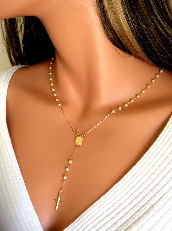 Pearl Rosary Necklace Women Cross Pendant by divinitycollection, $85.00