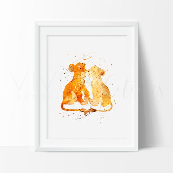 Simba and Nala Lion King Nursery Art Print Wall Decor. This art illustration is a composition of digital watercolor images and silhouettes in a minimalist style.