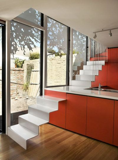 Stairs across the kitchen worktop... So awesome but definitely not for a house with kids! lol