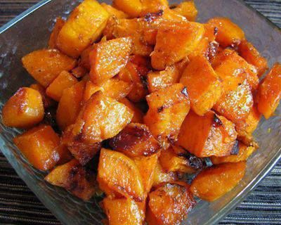Roasted Sweet Potatoes 3 Sweet potatoes, peeled, cubed 2 tsp olive oil 1 tbsp butter 1 tbsp of brown sugar  1 tsp of ground cinnamon 1/4 tsp of ground nutmeg Pinch of ground ginger Sea salt, to taste Preheat the oven to 350.  Coat a small baking dish with cooking spray. Place in the baking dish. Melt butter in the microwave and pour over the potatoes along with the olive oil, brown sugar, cinnamon, nutmeg, ginger and salt. Toss to coat evenly.Bake 60 min Stir once or twice during roasting.