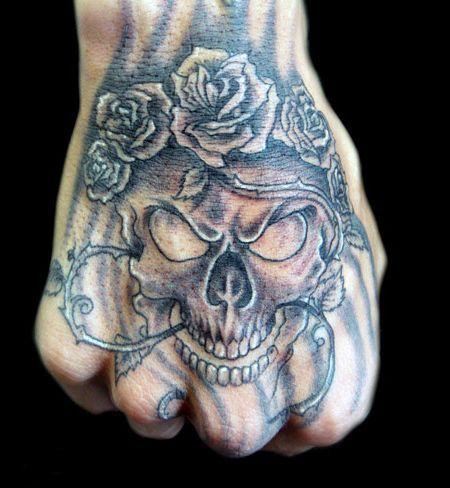 tatuaże czaszki na dłoni