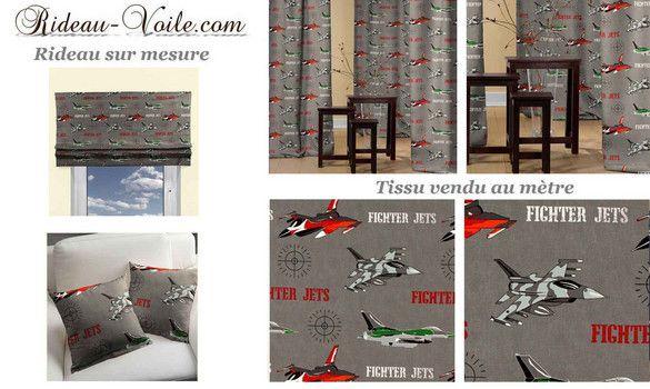 Tissu rideau chambre garçon avion décor