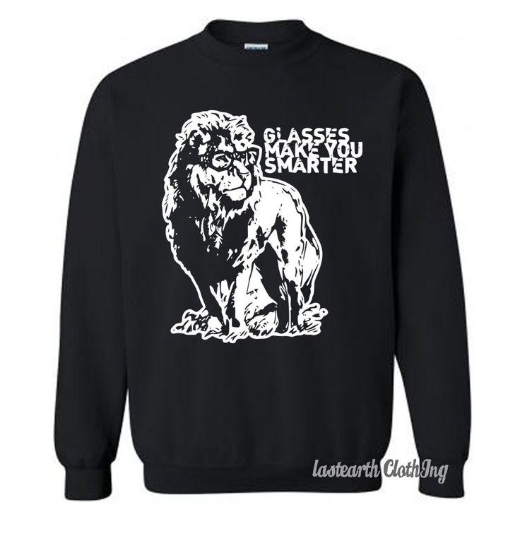 Lion Professor Sweater Nerdy Glasses Make You Smarter Bernie Sanders Funny  Gift Ideas Fleece Pullover Sweatshirt