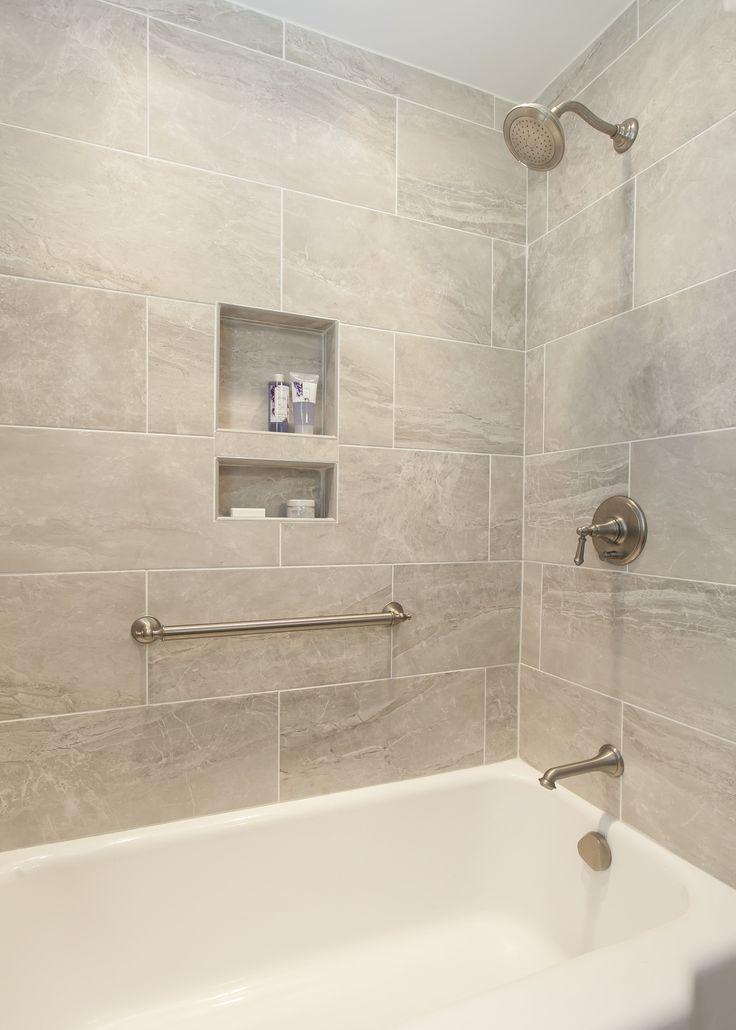 Stunning Bath Tub Tile Surround With Built In Niches Kitchensbykbdc Kbdcwesthartford Niches Luxuryba Bathroom Remodel Shower Shower Remodel Bathtub Remodel
