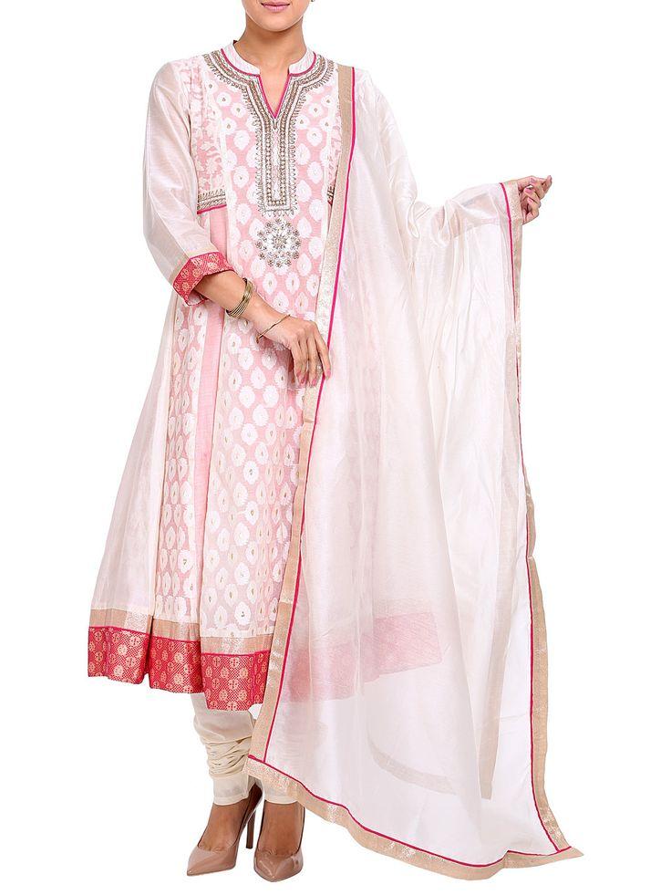 Shop White Cotton Anarkali Suit Set online at Biba.in - SKD#3830WHT