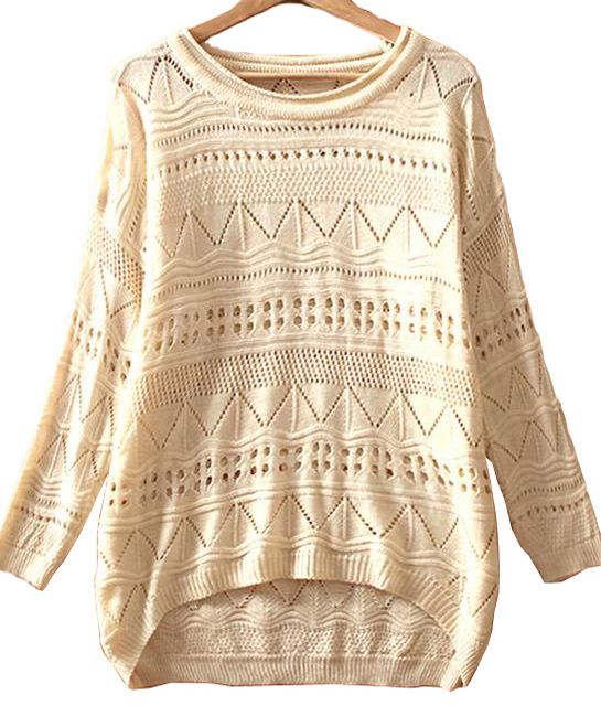 geometric eyelet sweater.