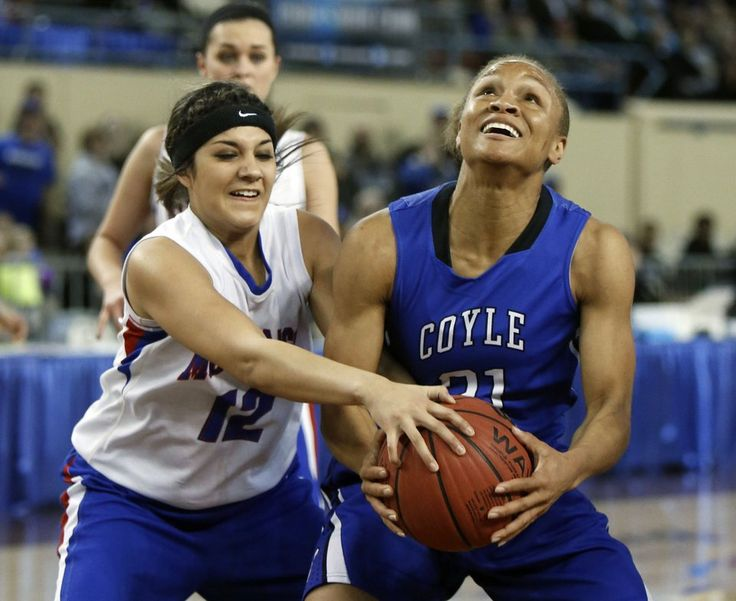 Ft. Cobb-Broxton's Courtney Morgan prevents Coyle's Tyra Aska from making a shot during the Class B girls semifinals basketball game between Coyle High School and Ft. Cobb-Broxton High School at the State Fair Arena in Oklahoma City, OK, Friday, March 6, 2015,  Photo by Paul Hellstern, The Oklahoman