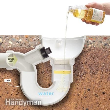 How to Seal Basement Water Traps With Oil.  Have a house that will be sitting empty for a few months?  Don't let the smell of sewer gas get in from evaporated water in your water traps.