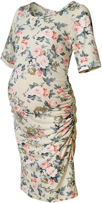 dba6cdeff243f Women's Floral Printed Bodycon Maternity Dress Nursing Short Sleeve Ruched  Sides Knee Length Beige Flower S at Amazon Women's Clothing store: