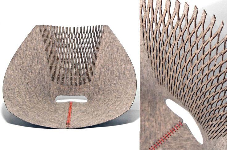 Collection Linen 2013,Mobiliers fibre de Lin contrecollé,  développés suite à mes recherches autour du lin,