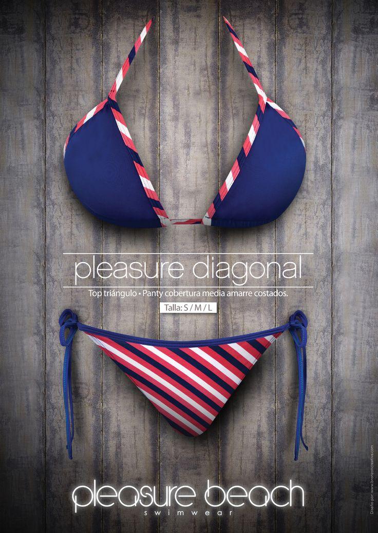 Pleasure diagonal Top triangulo- panty cobertura media amarre costados