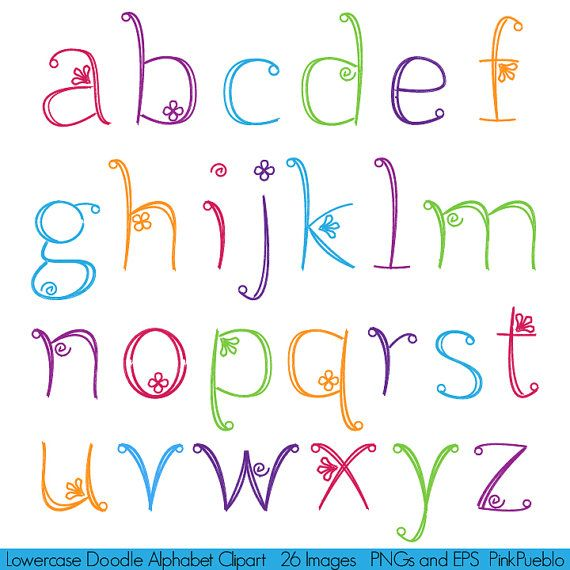 Girly Alphabet Fonts | Doodle Alphabet, Hand Drawn Girly Font, Lowercase…