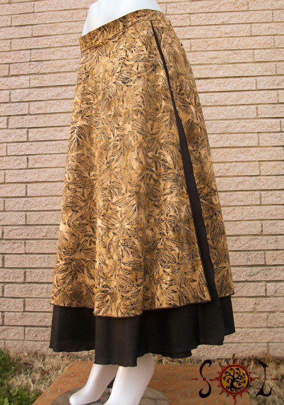 Cotton Batik Wrap Skirt Long Maxi Length