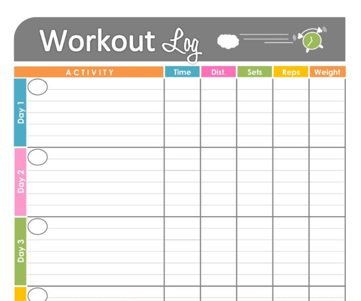 Exercise Log Template See A Completed Sample Here Free Exercise And