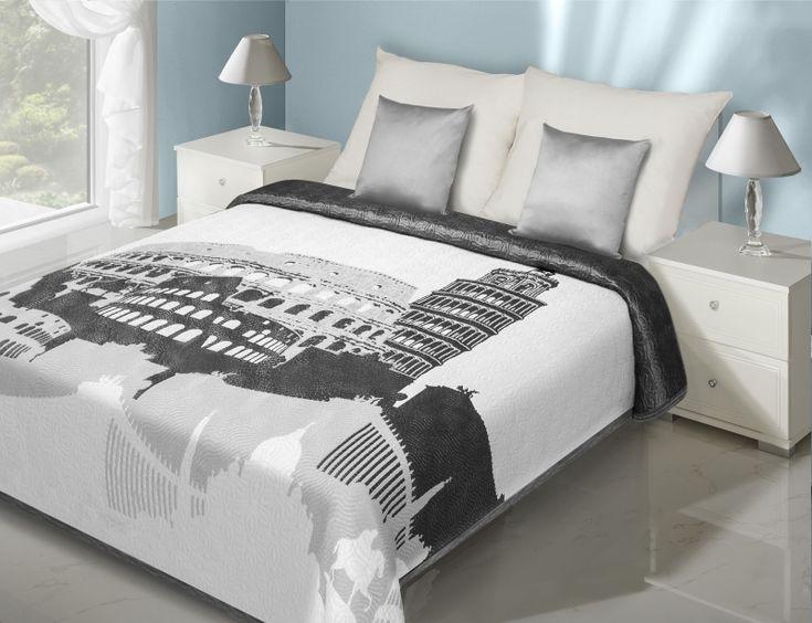 Dwustronne narzuty i kapy na łóżko w kolorze białym z modnym szarym motywem