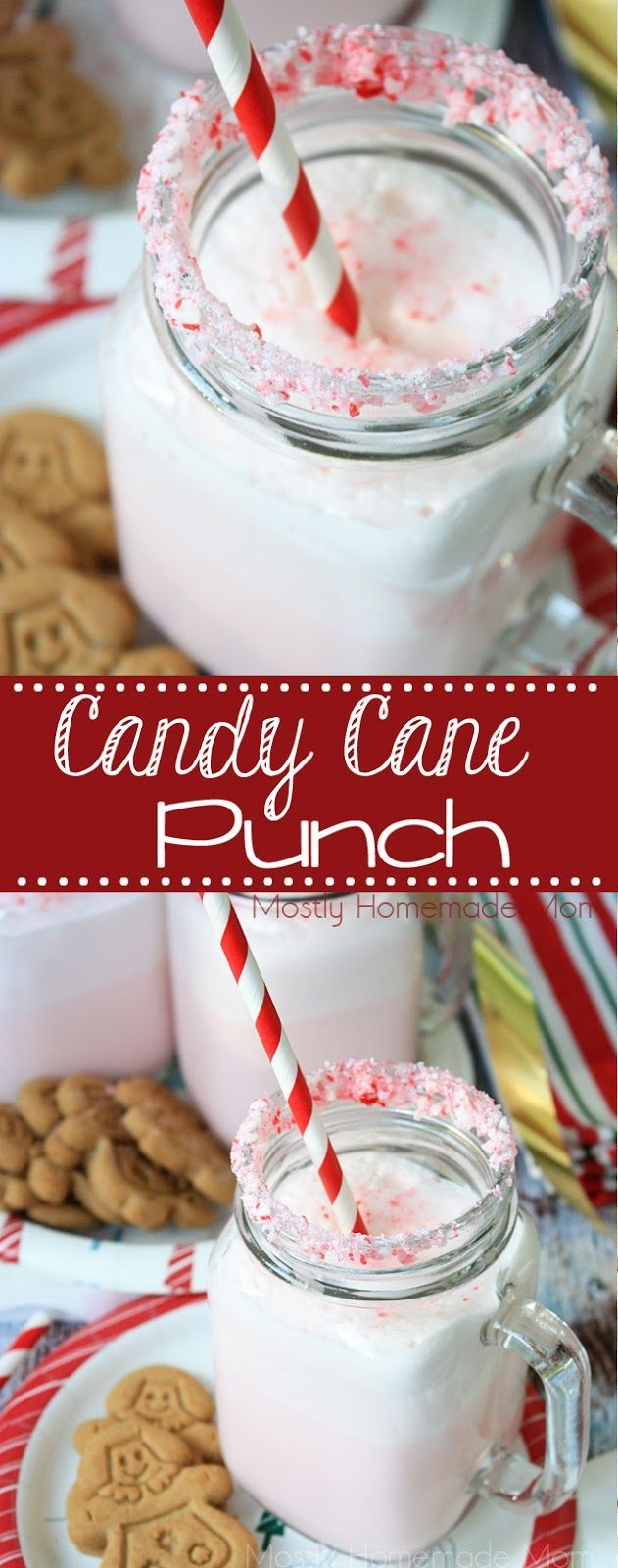 Candy Cane Punch - Peppermint ice cream, milk, fizzy 7UP®, and crushed candy canes make this festive ice cream punch perfect for young and old alike! #ad