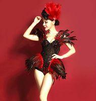 Vrouwen sexy strass veer lange staart jazzdans jumpsuit zangeres DS podium kostuum bodysuit prom clthing set slijtage