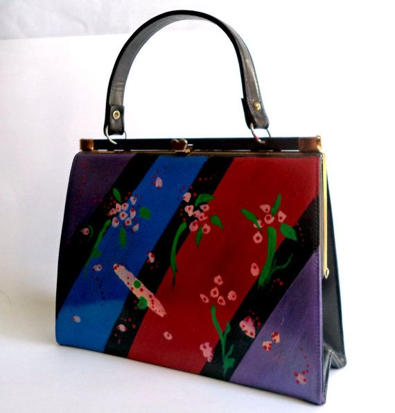 Retro 60s Painted Kelly Handbag Mod Jackie O by MushkaVintage3
