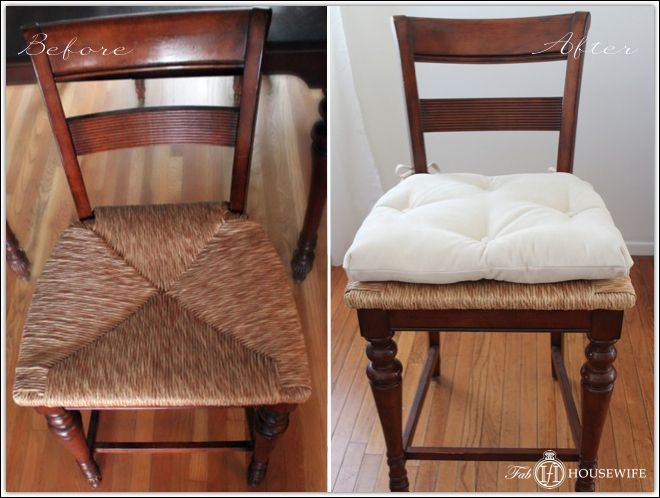 diy rush dining chairs tufting instructions to make cushion covers fab housewife - Dining Room Chair Cushions