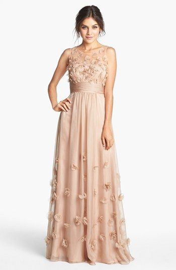 JS Collections Floral Appliqué Chiffon Gown available at #Nordstrom plucked like a chicken
