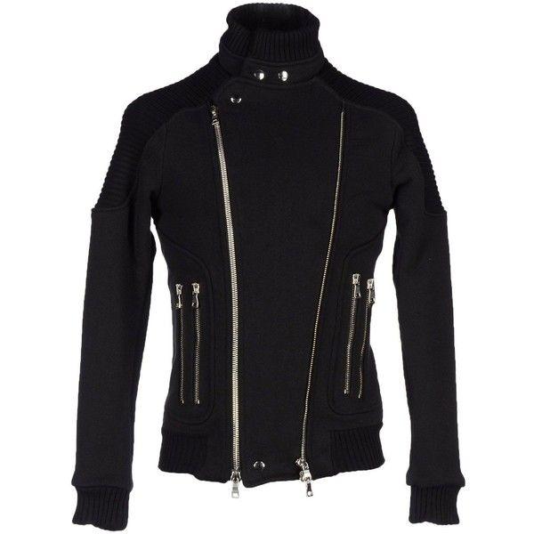 Balmain Jacket ($1,363) ❤ liked on Polyvore featuring men's fashion, men's clothing, men's outerwear, men's jackets, black, balmain mens jacket, mens zip up jackets and mens biker jacket