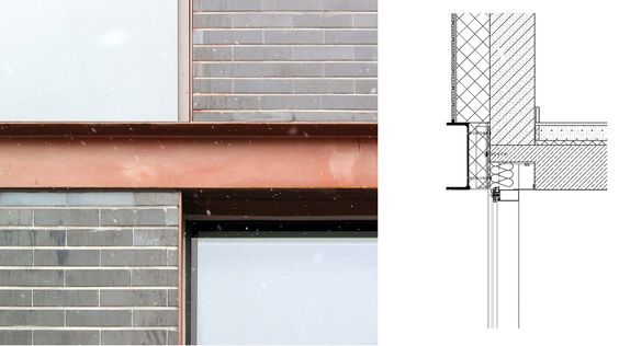 Steel channel at floor plane | Slab edge detail | Steel channel in brick facade | Marenta office building in Lithuania | Audrius Ambrasas Architects