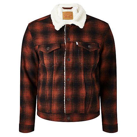 Buy Levi's Sherpa Check Jacket, Burnt Henna Online at johnlewis.com