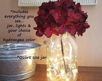 Mason Jar with Lights, Farmhouse Decor, Firefly Lights, Mason Jar Decor, Rustic Home Decor, Rustic Wedding Decor, Wedding Decor