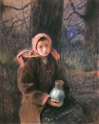 Girl with a Pitcher - Teodor Axentowicz