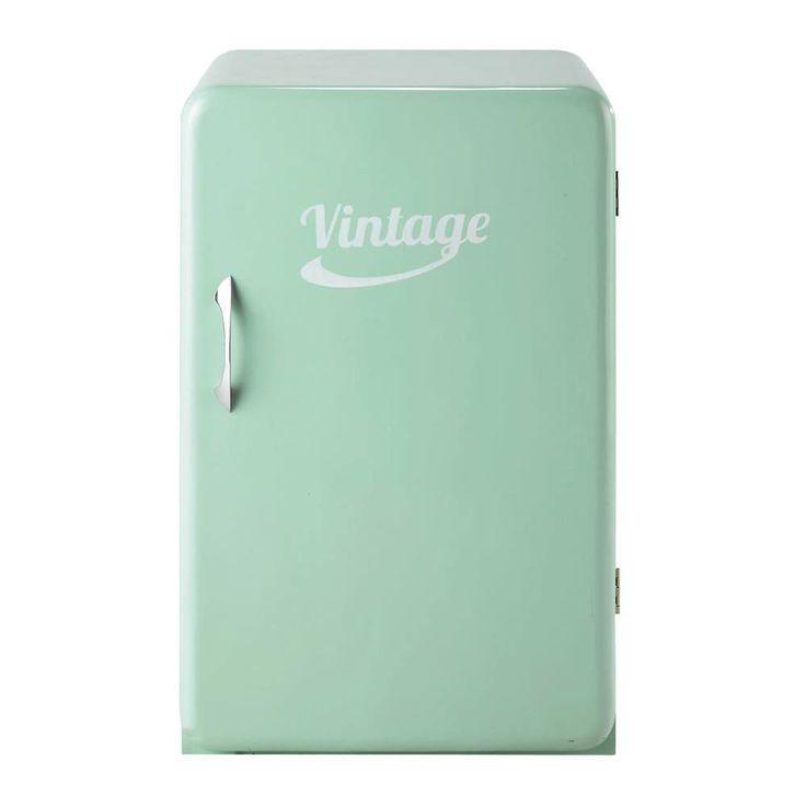Anrichte im Vintage-Stil und Kühlschrank-Look, B 55cm, mintgrün