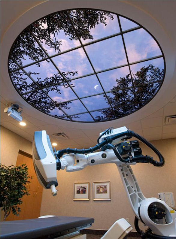 Luminous 360 SkyCeiling installed at the CyberKnife Radiosurgery Center of Iowa at Mercy Medical Center in Des Moines, Iowa.