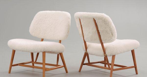 Differemt shape chair. But fluffy on the imside. Maybe velvet for back of chair. Alf Svensson; Lounge Chairs for Ljungs Industrier 1950s. via Anne #interiordesign #decor #todesign #interiordesignshoppingguide