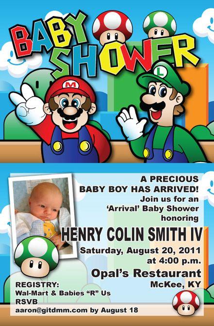 Super Mario Bros themed baby shower invites