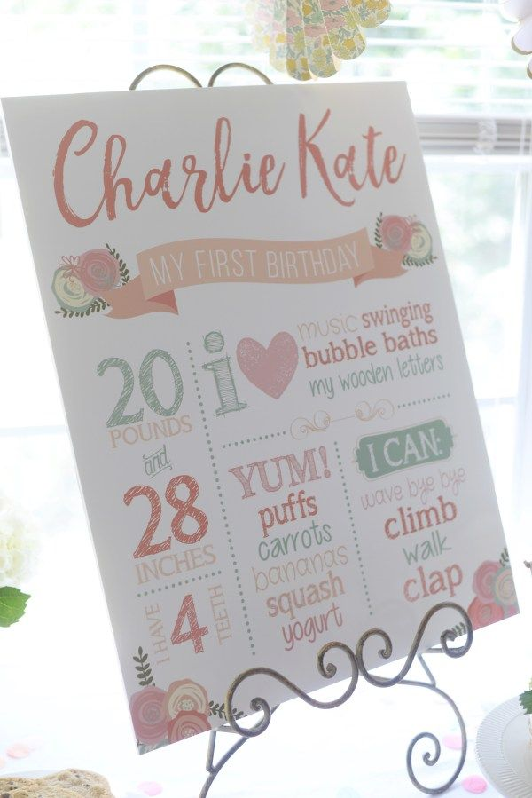 Charlies Floral First Birthday Party Little Girl Party