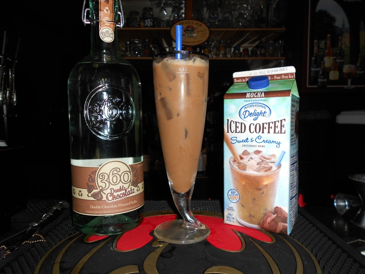 360 Mochaslide! 2 oz 360 Double Chocolate Vodka, fill with International Delight Iced Coffee!