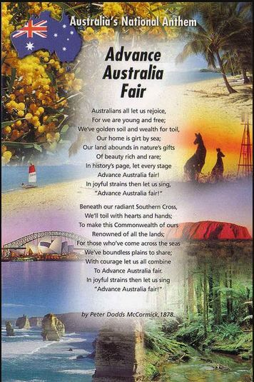 Australian National Anthem Today is Australia Day, January 26th