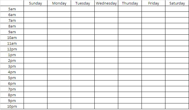 ... 31kB, Blank Weekly Timetable Chart Template | Calendar Template 2016
