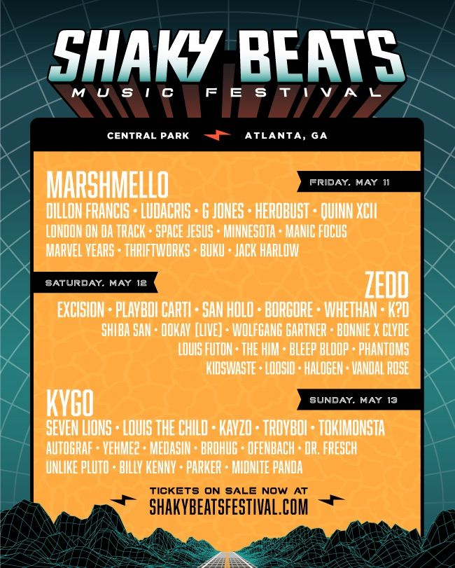 Tickets are on sale now for Atlanta's own Shaky Beats festival! The 2018 edition of the festival will feature Marshmello, Zedd, Kygo as headliners for the May 11-13th event. Dillon Francis, Excision, Seven Lions and many more add to the already stacked lineup to make for a festival you don't want to miss!