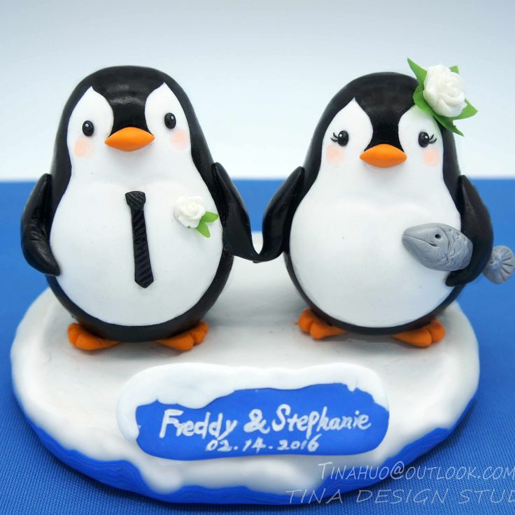 Penguin Wedding Cake Toppers Winter Theme -Custom Fishing Wedding Cake Toppers