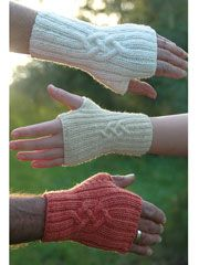Another great set of fingerless mittens, with pretty cables.. Not sure I understand the two circular needles technique though.