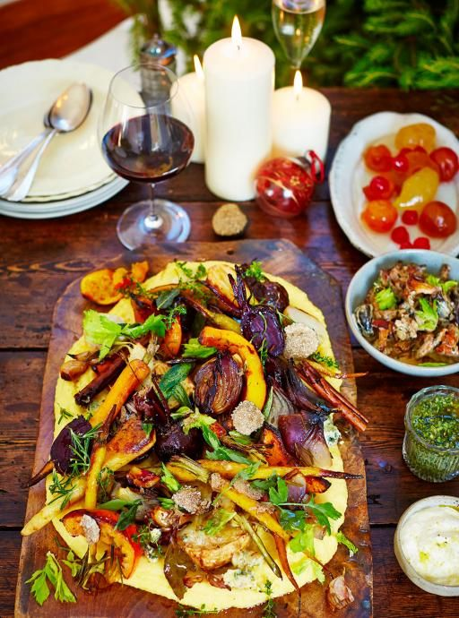 Veggie arrosto misto With truffle polenta  Sticky, roasted veggies on creamy polenta, served with wild mushroom sauce and horseradish crème fraîche – this is pure indulgence