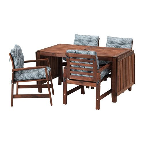 ÄPPLARÖ Table and 4 armchairs, outdoor, brown stained, Ytterön blue Äpplarö brown stained/Ytterön blue