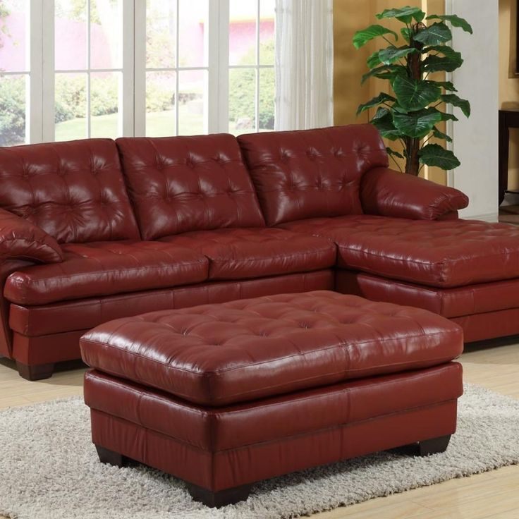 Dark Red Leather Couches