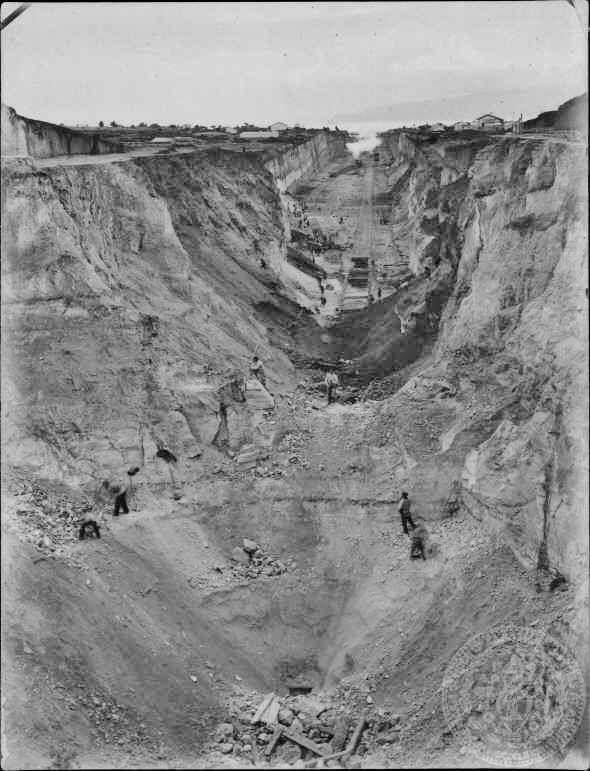 Ισθμος Κορινθου 1884 - Αρχικο σταδιο κατασκευης του