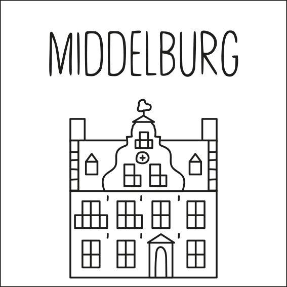 Haal een beetje van Middelburg in huis met deze leuke 'straat' #raamtekening met een paar van de bekende gebouwen: Sint Jorisdoelen, Oostkerk, de Lange Jan, molen de Hoop, Stadhuis, Damplein, Onze-Lieve-Vrouwe abdij en Koepoort.